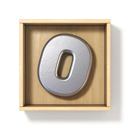 Silver metal number 0 ZERO in wooden box 3D render illustration isolated on white background