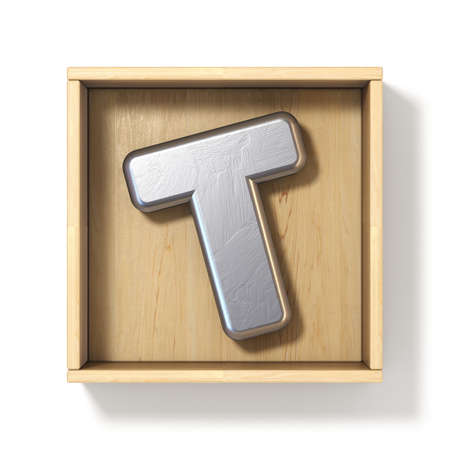 Silver metal letter T in wooden box 3D render illustration isolated on white background