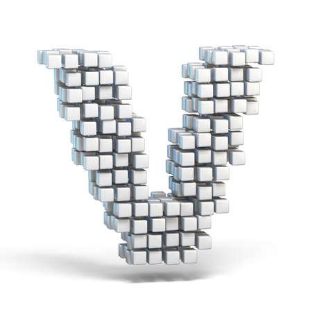 White voxel cubes font Letter V 3D render illustration isolated on white background Stock Photo