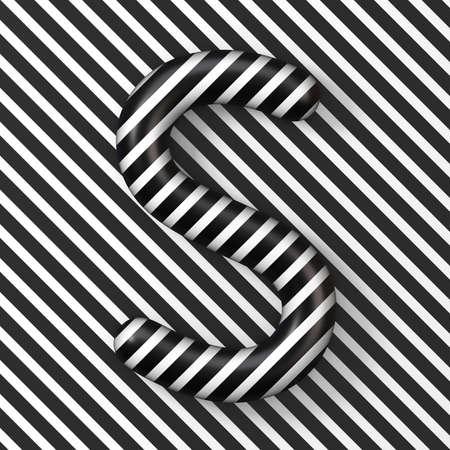 Black and white stripes Letter S 3D render illustration