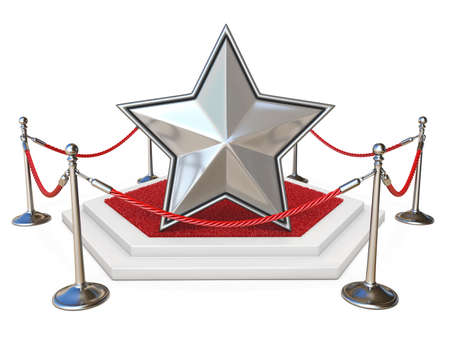 Silver star on podium with red carpet 3D render illustration isolated on white background