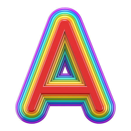 Concentric rainbow font letter A 3D rendering illustration isolated on white background