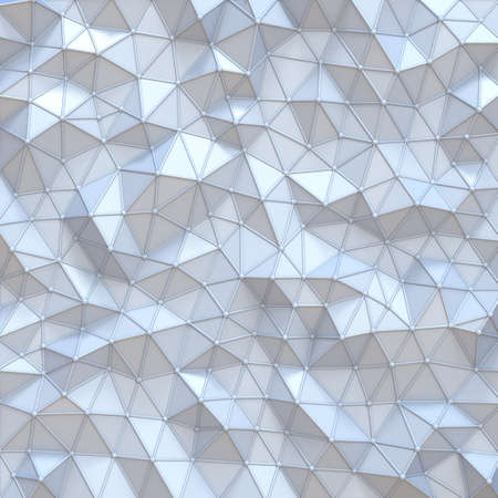 White abstract polygonal triangle background 3D render illustration 写真素材