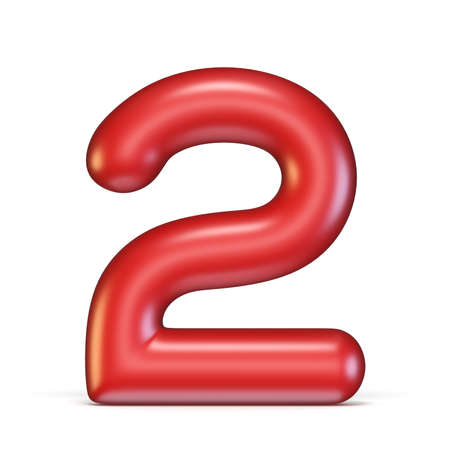 Red glossy font Number 2 TWO 3D rendering illustration isolated on white background Stock Photo