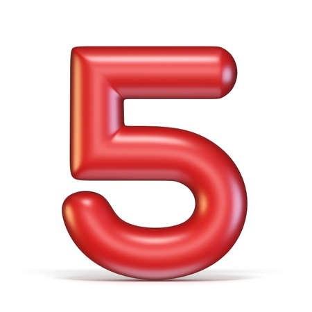 Red glossy font Number 5 FIVE 3D rendering illustration isolated on white background Stock Photo