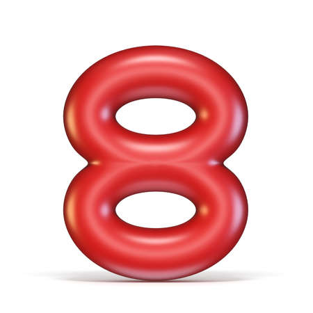 Red glossy font Number 8 EIGHT 3D rendering illustration isolated on white background