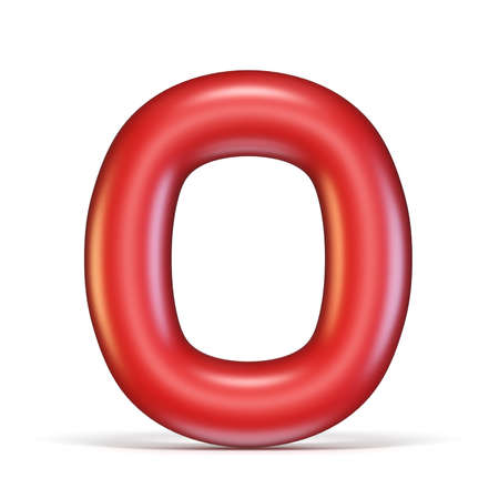 Red glossy font Letter O 3D rendering illustration isolated on white background