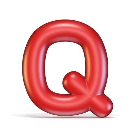 Red glossy font Letter Q 3D rendering illustration isolated on white background