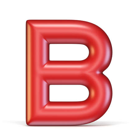 Red glossy font Letter B 3D rendering illustration isolated on white background