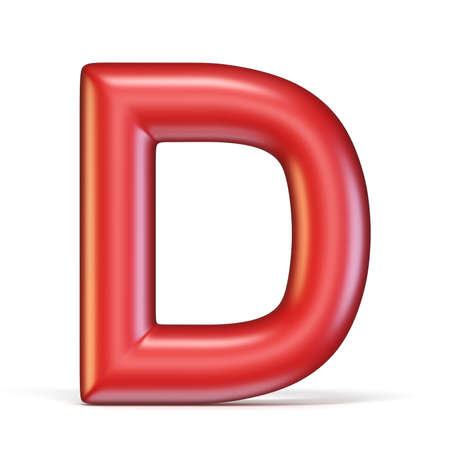 Red glossy font Letter D 3D rendering illustration isolated on white background Stock Photo