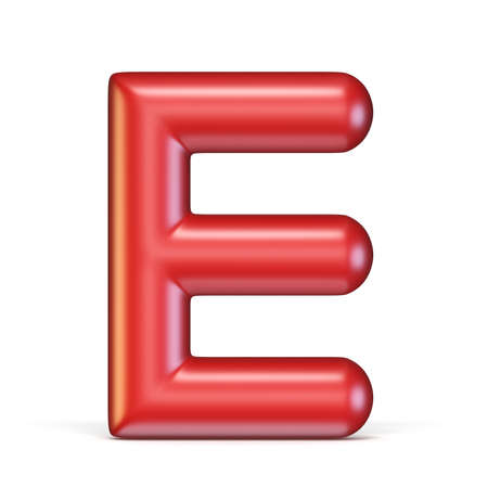 Red glossy font Letter E 3D rendering illustration isolated on white background