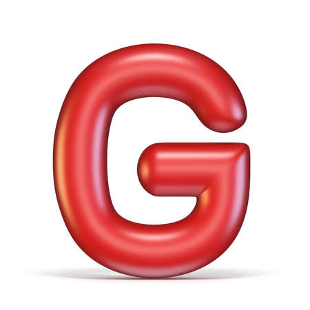 Red glossy font Letter G 3D rendering illustration isolated on white background