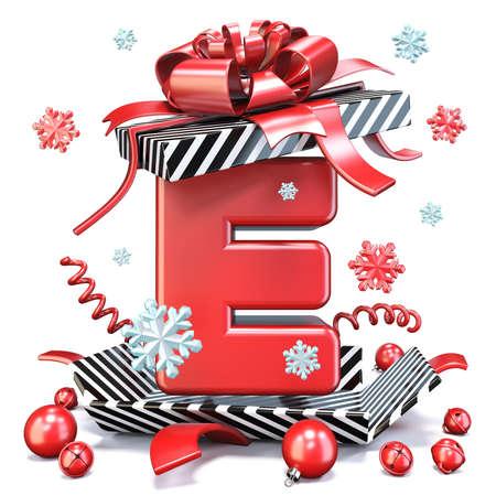 Red Letter E inside open gift box 3D rendering illustration isolated on white background