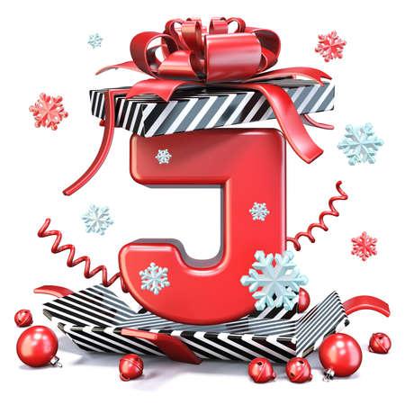 Red Letter J inside open gift box 3D rendering illustration isolated on white background