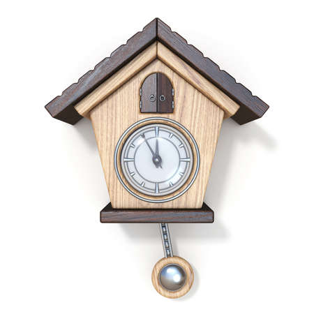 Traditional wooden cuckoo clock Front view 3D rendering illustration isolated on white background