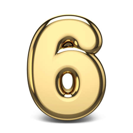 Golden number 6 SIX 3D render illustration isolated on white background