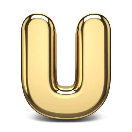 Golden font letter U 3D render illustration isolated on white background