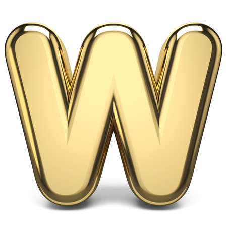 Golden font letter W 3D render illustration isolated on white background Фото со стока