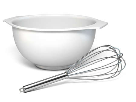 White plastic bowl and metal whisk 3D rendering illustration isolated on white background