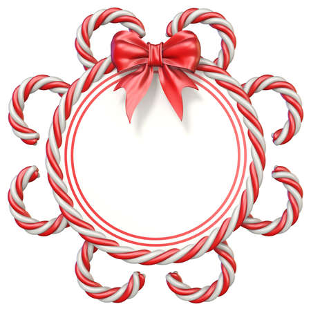 Candy cane frame with ribbon bow 3D rendering illustration isolated on white background