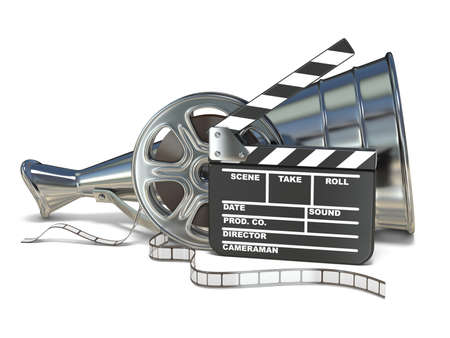 Megaphone, film reels and movie clapper board 3D rendering illustration isolated on white background