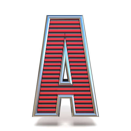 Metal red lines font Letter A 3D render illustration isolated on white background