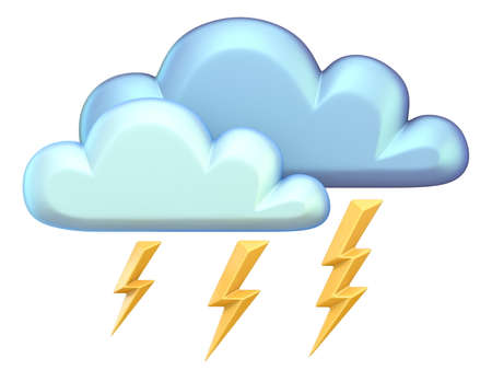 Weather icon CLOUD LIGHTNING 3D render illustration isolated on white background