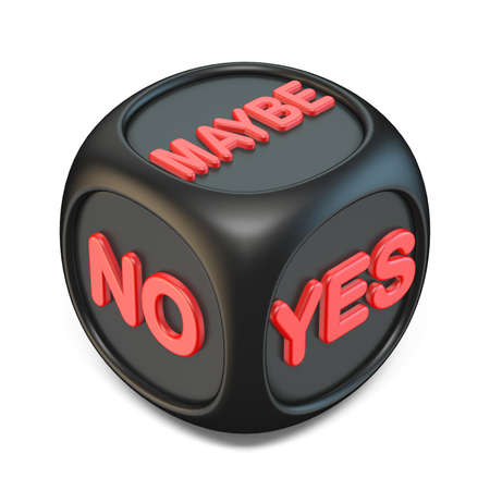 Black YES, NO, MAYBE dice 3D rendering illustration isolated on white background