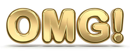 OMG golden text 3D rendering illustration isolated on white background