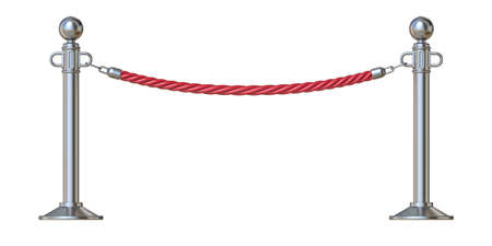 Red barrier rope 3D render illustration isolated on white background Stock Photo