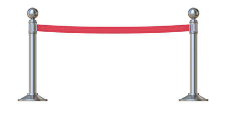 Red barrier tape 3D render illustration isolated on white background Stock Photo