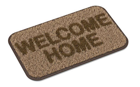 Brown coir doormat with text WELCOME HOME 3D rendering illustration isolated on white background