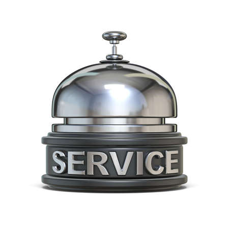 Silver reception bell SERVICE text 3D render illustration isolated on white background