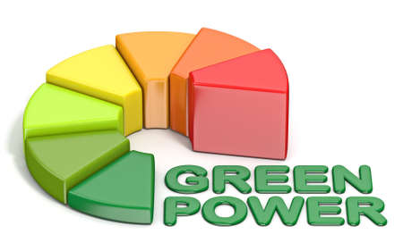Energetic efficiency Green Power text 3D render illustration isolated on white background Standard-Bild - 121238662