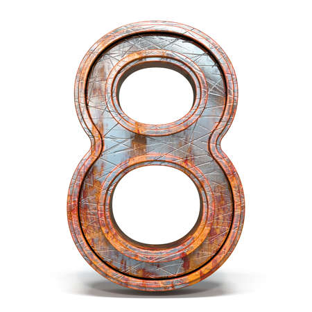 Rusty metal font Number 8 EIGHT 3D render illustration isolated on white background