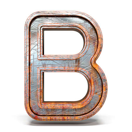 Rusty metal font Letter B 3D render illustration isolated on white background