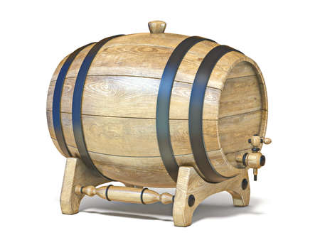 Wooden barrel on wooden stand 3D render illustration isolated on white background Stockfoto