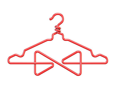 Red wire coat hanger bow tie 3D render illustration isolated on white background