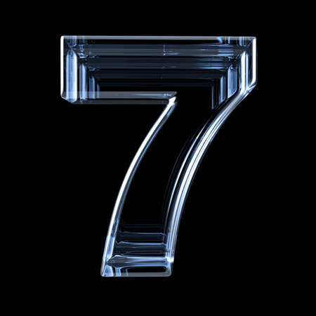 Rayon X transparent numéro 7 SEPT. Illustration de rendu 3D sur fond noir Banque d'images