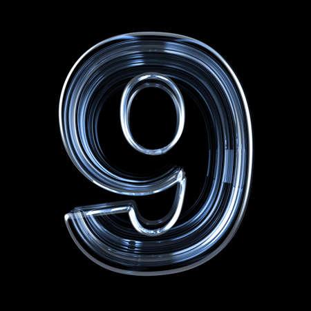 Transparent x-ray number 9 NINE. 3D render illustration on black background