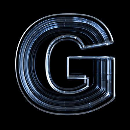 Transparent x-ray letter G. 3D render illustration on black background Stock fotó