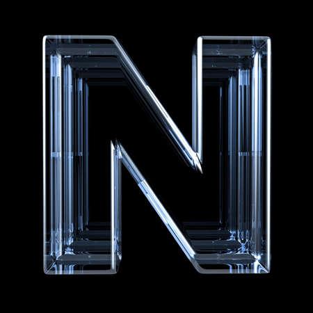 Transparent x-ray letter N. 3D render illustration on black background