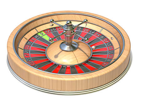 Roulette wheel side view 3D render illustration isolated on white background