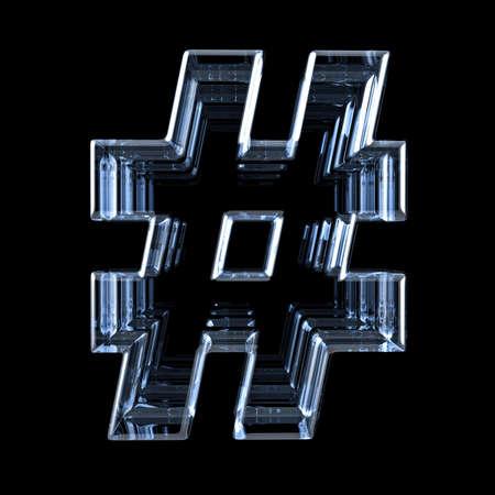 Transparent x-ray HASHTAG sign 3D render illustration on black background Stockfoto - 123164877