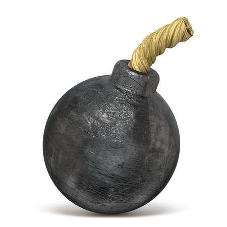Retro black bomb 3D render iIlustration isolated on white background Stock Photo