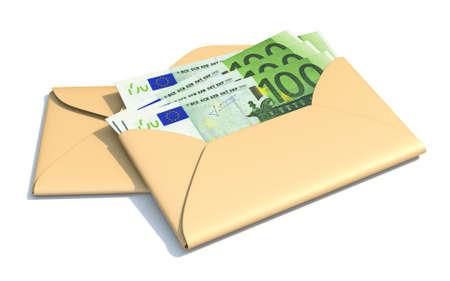 Euros in envelope 3D render illustration isolated on white background