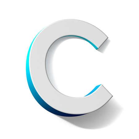 Blue gradient Letter C 3D render illustration isolated on white background Banque d'images