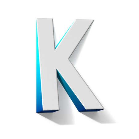 Blue gradient Letter K 3D render illustration isolated on white background 免版税图像