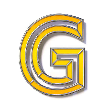 Orange metal wire font Letter G 3D rendering illustration isolated on white background