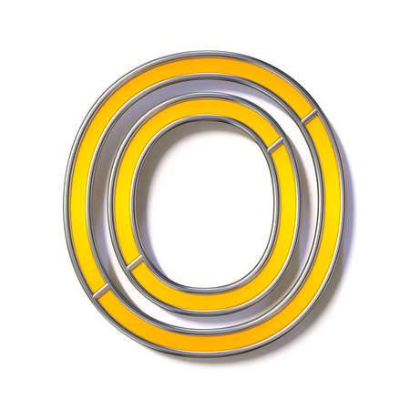 Orange metal wire font Letter O 3D rendering illustration isolated on white background